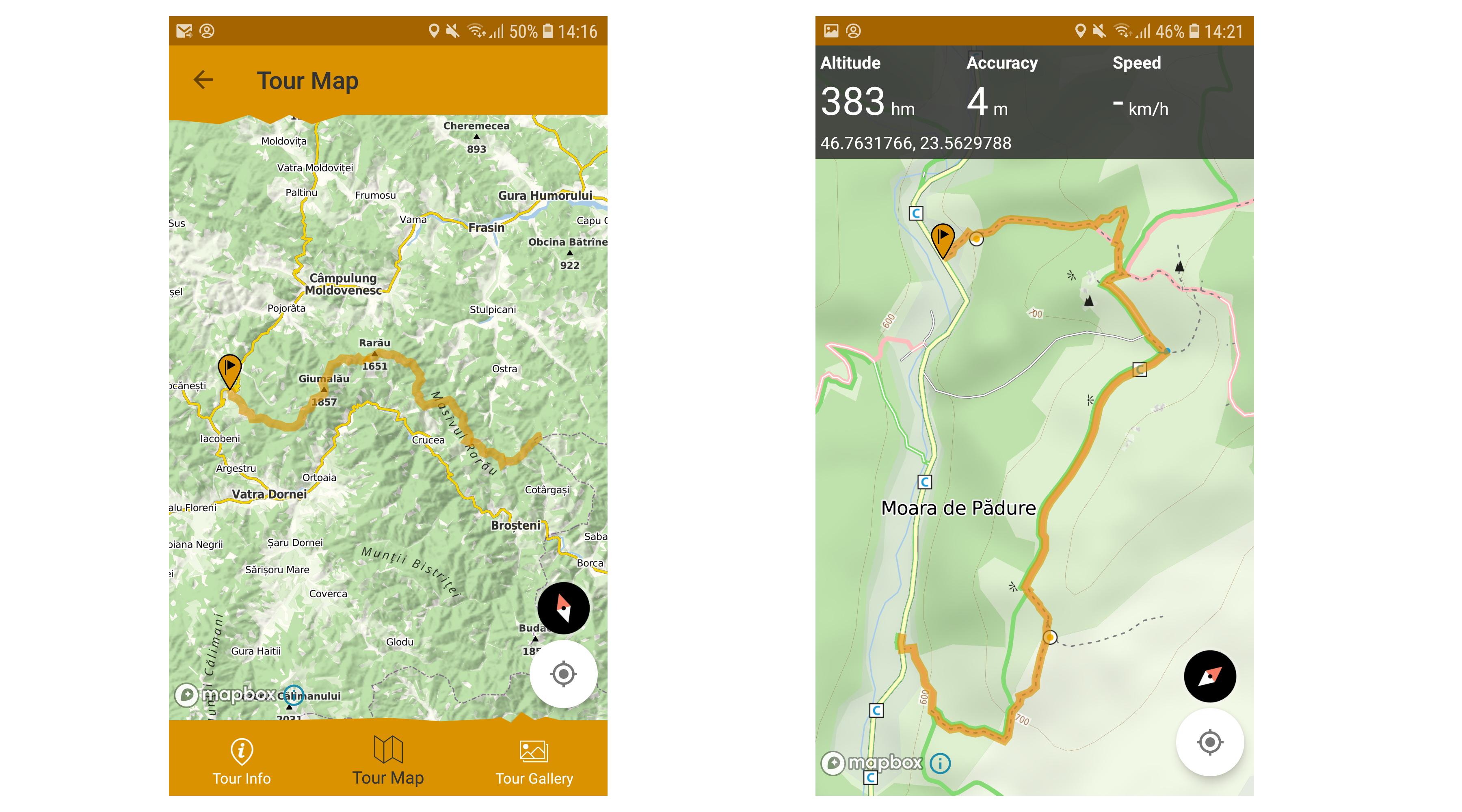 Poziționare și vizualizare traseu în aplicația Munții Noștri